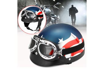 【Free Shipping + Flash Deal】Motorcycle Half Open Face Helmet Biker Scooter w/ Goggles Vintage US Flag Style(Type 2)