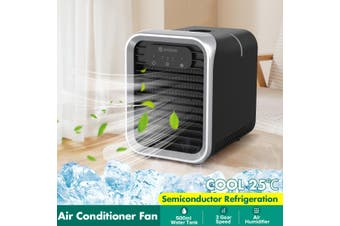 【Air Cooler+Fan+Humidifier】AUGIENB Air Cooler Air Conditioner Fan Mini Portable Desk Noiseless Evaporative Air Humidifier With 500ml Large Water Tank + LED Mood Light 3 Gear Speed LED Touch Screen Buttons(silver,updated version)