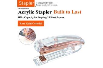 Acrylic Clear Desktop Stapler Gold Modern Design Office Desk Rose Gold New Hot(rosegold)
