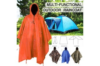 3 IN 1 Poncho Waterproof Hoody Raincoat Hiking Rain Coat Camping Mat Shelter (orange,3 in 1 Raincoat)