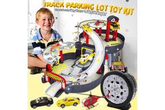 Gift Assemble Children's Track Car Rails Toy Rail Car Alloy Racing Car Model Boy Puzzle Car Tire Parking Toy Set (1 Set)