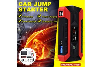 Car Jump Starter 4 USB Emergency Charger LED Torch Power Bank Battery
