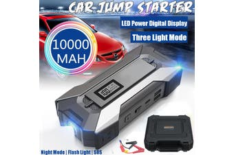 99900mAh 3USB 2 Type C Port Fast Charger LED Digital Display 3 light Mode 12V Portable Car Jump Starter with Box Power Bank USB For Car Emergency Start SOS Flash Light(black)