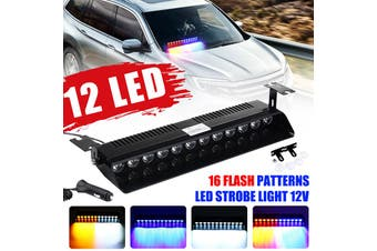 【12led】(Suction Cup) LED Car Emergency Strobe Windshield Lamp Flash Light Grille Long Bar Police Warning Lamp Visor Deck Dash Middle Net Light For Truck Pickup-General+16 Strobe Mode(Red Blue)