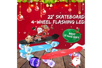Blue / Red / Black -- LED Light Up 22'' Fish Skateboard Cruiser Complete Deck 4 PU Casters Sturdy Deck(red,With LED)