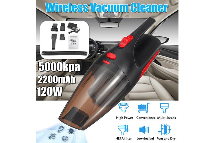 5000Kpa 120W 2200mAh Portable Rechargeable Wireless Handheld For Car/Home Cordless Vacuum Cleaner With LED Light(black,Without HangBag)