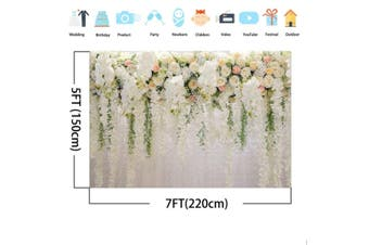 White and Pink Rose Wall Background Wedding Photography Backdrops Studio Props(A 2.2x1.5m)