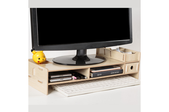 New Computer Screen Desktop Stand Wooden Monitor Laptop TV Riser Pockets Holder(oak)