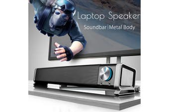 3.5mm AUX TV Home Portable Soundbar Speaker Subwoofer Theater For Laptop PC Usb(black)