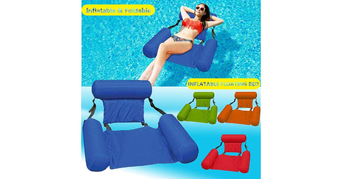 zakarriey inflatable swimming floating chair foldable swimming pool seats bed lounge chairs 200 lbsblue zotvrlqsvizu