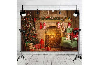 【2220*150CM】Christmas Theme Tree Stove Sock Fireplace Gift Xmas Party Photography Christmas Backdrop for Pictures Decorations Background Photo Studio Props(B (220x150CM))