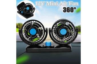 Car Cooling Cooler Fan 360 Degree Rotation Dual Head Adjustable Universal 12V(blue,12V)