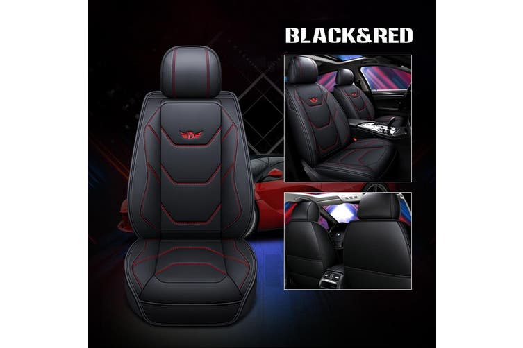 Universal Full Car Seat Covers Mat Pad Breathable PU Leather Car Seat Cushion Pad Set Car Interior Accessories (blackredassorted,2020 New 5D Upgrades)