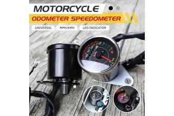Universal Motorcycle Motorbike KM/H MPH Speedometer Odometer Tachometer Gauge (Black)(black,Black)