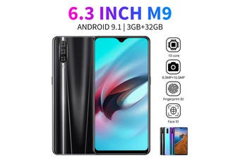 M9 6.3 inch 3G+32G 4G Face Recognition Unlocked Dual SIM Smartphone Mobile Phone HOT SALE(black)