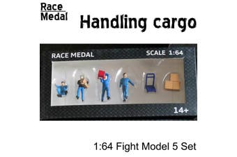 RM 1:64 Scale Figures Diorama To Move The Box Freight Courier Stevedore Model(blue)