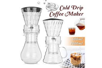 600ml Dutch Coffee Cold Water Drip Brewer Coffee Maker Machine Serve For 8 cups(600ml Transparent)