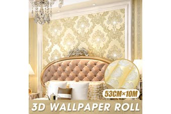 53cmx10M 3D Wallpaper Roll Non-woven European Gold Damask Embossed Textured(gold)