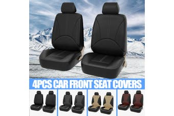 Car seat cover artificial leather four seasons universal cushion color stitching(black,4pcs(2 seaters))