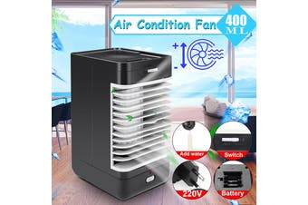 Mini Portable 400ML 2-Speed Air Conditioner Fan Cooler Humidifier Purifier Desktop Cooling for Home Office Household Table Outdoors Summer AC220V(black,EU Plug)