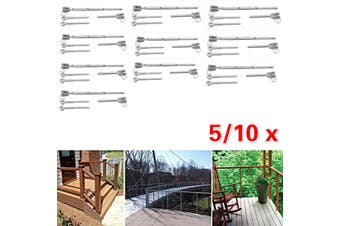 5/10x Stainless Steel Wire Rope DIY Balustrade Kit Jaw/Swage Fork Terminal Eye Bolts(10x)