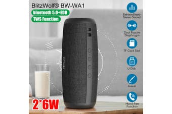 BlitzWolf BW-WA1 Portable Bluetooth Speaker Waterproof Dual Passive Diaphragm TWS Stereo (black)
