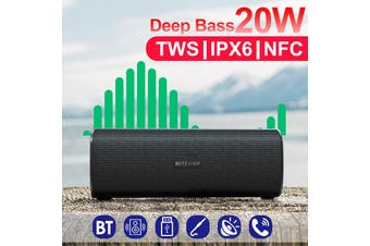 【Free Shipping】BlitzWolf BW-WA2 20W Wireless bluetooth Speaker Dual Passive Diaphragm TWS NFC Bass Stereo Outdoors Soundbar with Mic(black)