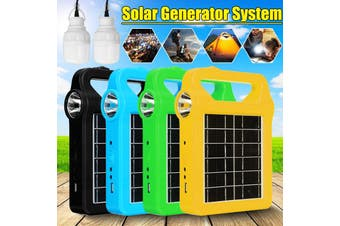 Solar Panel Generator Home DC System Kit with 2Pcs 3W LED Light Bulb Emergency Lights, 5 Heads USB Charging Cable for Outdoor Camping Garden Portable(black)