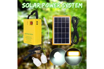Portable Solar Panel Power Generator LED Light USB Cable Charge Emergency System Kit with 2Bulbs 3 gear dimming for Home Outdoor