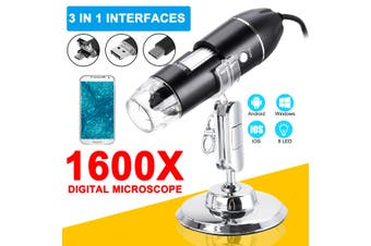 1600X Portable 8 LED Light Adjustable Dimmer Practical Hand Held Microscope Computers Real-Time Video Inspection Digital Microscope