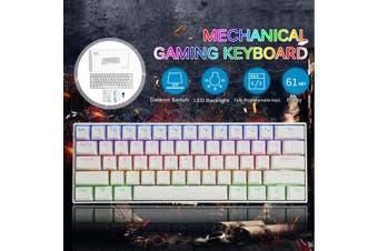 FEKER Gateron 61Keys bluetooth PBT DoubleShot Mode Wired Mechanical Keyboard 1.68 million RGB Backlit Type-C Gaming Keyboard(white,Red Switch)