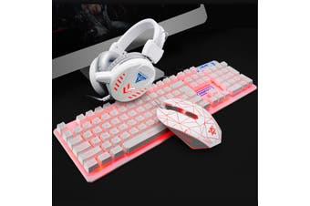 Wired LED Backlit Multimedia Ergonomic USb Gaming Keyboard Mouse Combo Illuminated 1600DPI Optical Gamer Sets(Keyboard+Headset+Mouse+Mouse Pad)(white,White with backlit)