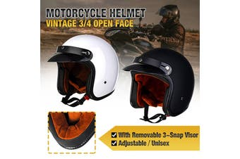 【2020 New】(BLACK/WHITE-M/L/XL)Vintage 3/4 Open Face Motorcycle Helmet Adjustable Light-weight Helmet With Removable 3-Snap Visor For Harley Chopper Cruiser Motorbike Bike Scooter (white,M)