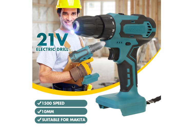 10mm High Power Industrial Rechargeable Drill Bare Metal High Power and Powerful Color Steel Drill Lithium Rechargeable Electric Drill Suitable for Makita- Bare Metal【excluding battery and charger】(blue,old style bare machine)
