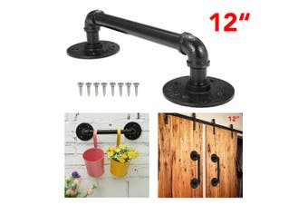 【Free Shipping + Flash Deal】Antique Rustic Style Cast Iron Black Pipe Door Handle Gate Pull With Screws(black,1xholder)