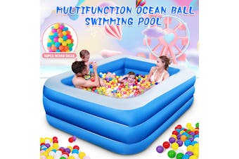 Blue Thick Inflatable Swimming Pool Adults Kids Pool Bathing Tub Outdoor Indoor(Only 130cm Inflatable Pool)