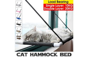 Hammock for pet [Single/Double Layer,Hold up 20KG] Cat Window Perch Hammock Bed Pet Cat Lounger Suction Cups Warm Bed Seat With Cat Scratching Post & Small Window(black,Summer Single Layer)