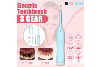 Portable Electric Sonic Ultrasonic Dental Scaler Tooth Stains Tartar Usb Charging Teeth Calculus Remover Tooth Whitening Tool(blue,upgraded version)