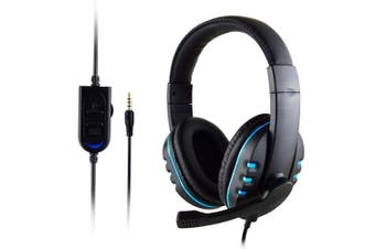 3.5mm Wired Gaming Headset Stereo Surround Headphone Mic For PS4 Laptop Xbox one(blue)