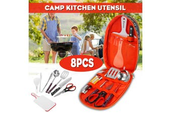 8PCS Portable Cookware Kit Outdoor Camping Barbecue BBQ Stainless Steel Outdoor Cookware Tools Set