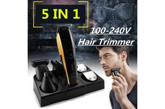 Black+Gold GP-8188 - 5 in1 Professional Cutting Hair Clipper Trimmer Waterproof Shaver Razor (Type2)