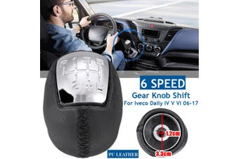 5/6 Speed Chrome Gear Knob Shift PU Leather For Iveco Daily IV V VI 2006-2017(6 Speed)