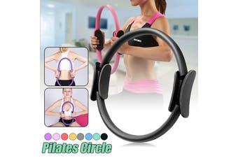 Dual Grip Pilates Ring Magic Circle Sport Exercise Fitness Weight Body Slimming Yoga Tool Equipment (Diameter: 37cm)(black)