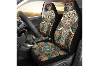 Elephant Print Car Seat Cover Front Cushion Car Seat Covers Cover Breathable(Elephant 2PCS)