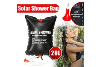 20L 5 Gallons Solar Energy Heating Camp Shower Bag Outdoor Camping Hiking Climbing Summer Shower(with temperature display)