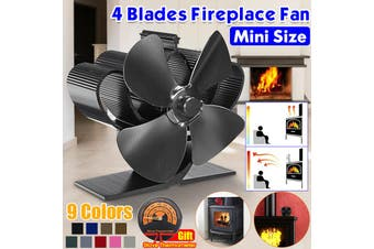 5inch Mini Silent 4 Blade Heat Powered Wood Stove Fan Fireplace Saving Ecofan Home(black,4 Bldses Black)