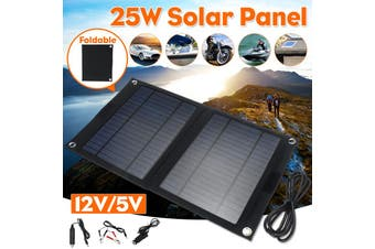 【Free Shipping + Flash Deal 】25W 12V/5V Solar Panel Charger High Efficiency Portable Monocrystalline Silicon(30W 12/5V)