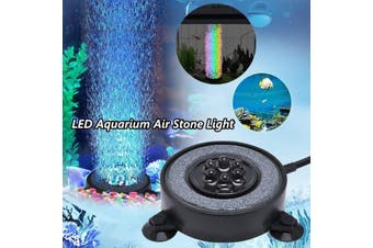 Aquarium Accessorie Multi-Colored LED Aquarium Air Stone Disk Round Fish Tank -- UK / US / EU / AU - black