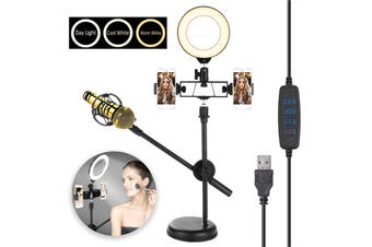 80LED Selfie Ring Light for Live Stream / Makeup / YouTube Video, Dimmable Beauty Ringlight with Tripod Stand + Cell Phone & Microphone Holder for iPhone Android Phone, Dimmable, USB