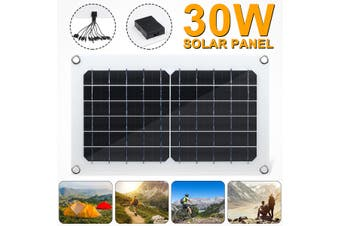 30W USB Solar Panel Monocrystalline 5V 2A Waterproof IP65 w/10-in-1 Charging Line Multiple +4xSuction Cups For Boats Car Home Camping Hiking Outdoor Lighting RV